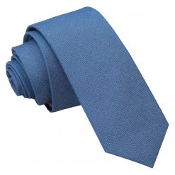 Parisian Blue Chambray Cotton Skinny Tie