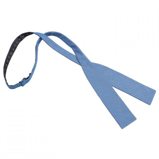 Parisian Blue Chambray Cotton Self Tie Batwing Bow Tie