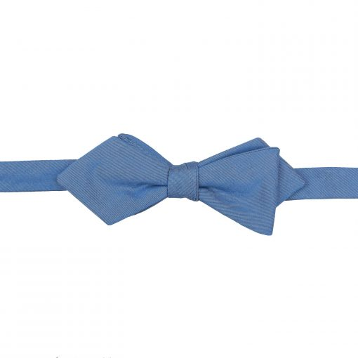 Parisian Blue Chambray Cotton Self Tie Pointed Bow Tie
