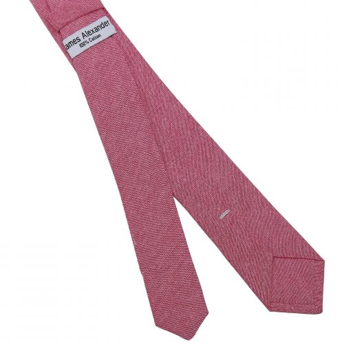 Red Chambray Cotton Skinny Tie