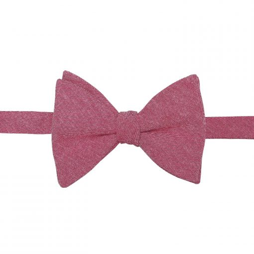 Red Chambray Cotton Self Tie Butterfly Bow Tie