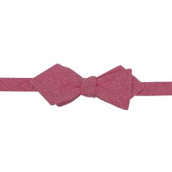 Red Chambray Cotton Self Tie Pointed Bow Tie