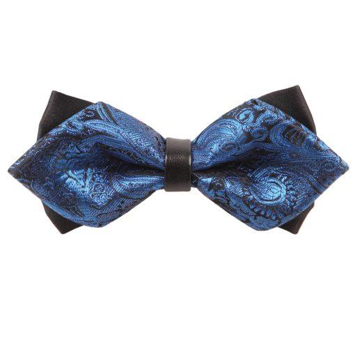 Blue Paisley Pre-Tied Diamond Tip Bow Tie