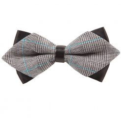 Grey Plaid Pre-Tied Diamond Tip Bow Tie