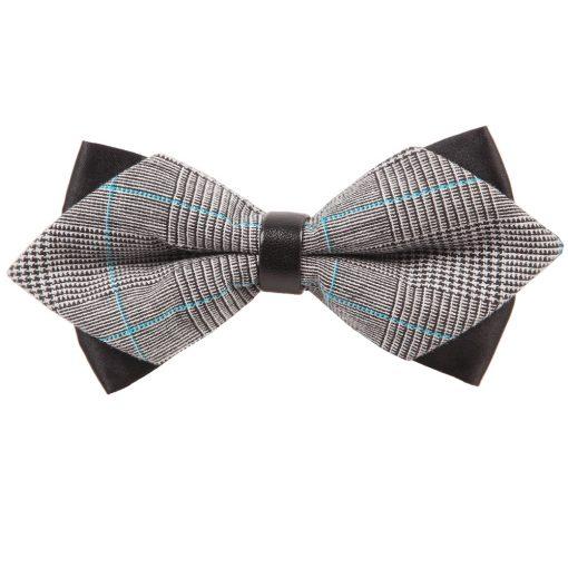 Grey Plaid Pre-Tied Diamond Tip Bow Tie