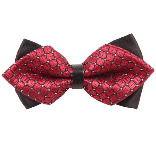 Red Covert Checks Pre-Tied Diamond Tip Bow Tie