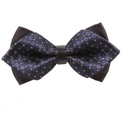 Navy Blue Covert Checks Pre-Tied Diamond Tip Bow Tie