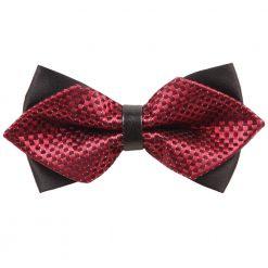 Red & Black Checkered Pre-Tied Diamond Tip Bow Tie