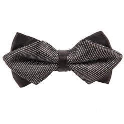 Black & Silver Stripes Pre-Tied Diamond Tip Bow Tie