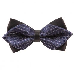 Navy Blue & White Large Grid Pre-Tied Diamond Tip Bow Tie