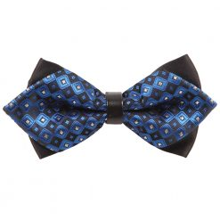 Blue Chess Board with Tiny Squares Pre-Tied Diamond Tip Bow Tie