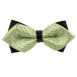 Mint Green & Silver Thin Stripes Pre-Tied Diamond Tip Bow Tie