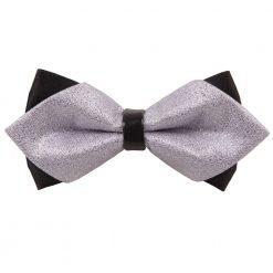 Silver Plain Metallic Pre-Tied Diamond Tip Bow Tie