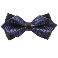 Navy Blue & Black Checkered Pre-Tied Diamond Tip Bow Tie
