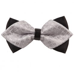 Silver Covert Checks Pre-Tied Diamond Tip Bow Tie