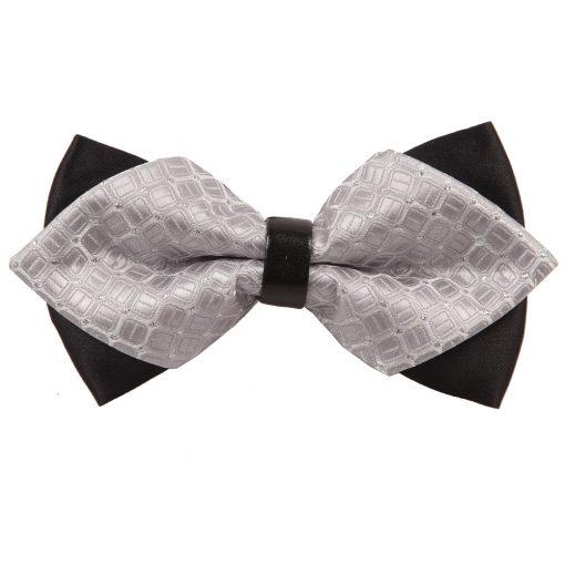 Silver Covert Checks Pre-Tied Diamond Tip Bow Tie