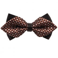 Brown Dragee Dots Pre-Tied Diamond Tip Bow Tie