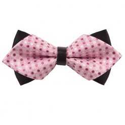 Pink Dragee Dots Pre-Tied Diamond Tip Bow Tie