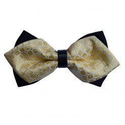 Pale Yellow Checks Pre-Tied Diamond Tip Bow Tie
