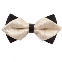 Ivory Crisscrossed with Dots Pre-Tied Diamond Tip Bow Tie