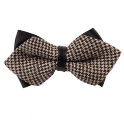 Champagne Whitewash Houndstooth Pre-Tied Diamond Tip Bow Tie