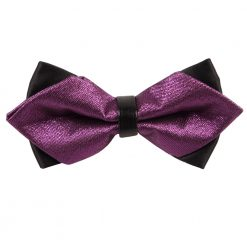 Purple Plain Metallic Pre-Tied Diamond Tip Bow Tie