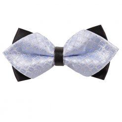 Baby Blue Covert Checks Pre-Tied Diamond Tip Bow Tie
