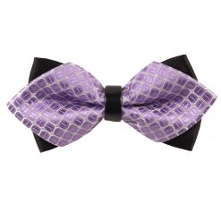 Lilac Covert Checks Pre-Tied Diamond Tip Bow Tie
