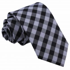 Black Gingham Check Slim Tie