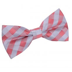 Coral Gingham Check Pre-Tied Thistle Bow Tie