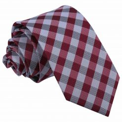 Dark Red Gingham Check Slim Tie
