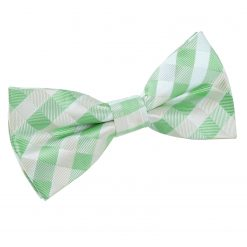 Mint Green Gingham Check Pre-Tied Thistle Bow Tie
