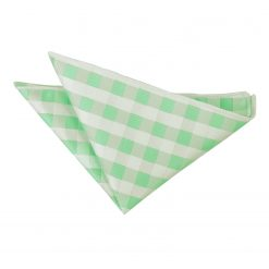 Mint Green Gingham Check Pocket Square
