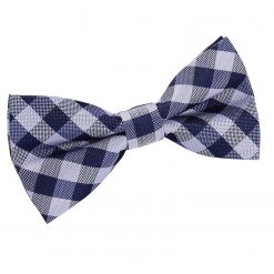 Navy Blue Gingham Check Pre-Tied Thistle Bow Tie