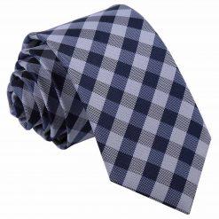 Navy Blue Gingham Check Slim Tie