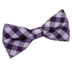 Purple Gingham Check Pre-Tied Thistle Bow Tie