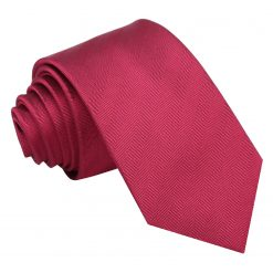Burgundy Herringbone Silk Slim Tie