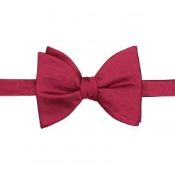 Burgundy Herringbone Silk Self Tie Butterfly Bow Tie