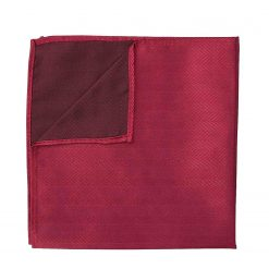 Burgundy Herringbone Silk Pocket Square