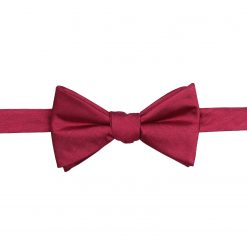 Burgundy Herringbone Silk Self Tie Thistle Bow Tie