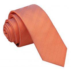 Coral Herringbone Silk Skinny Tie