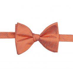 Coral Herringbone Silk Self Tie Butterfly Bow Tie