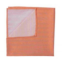 Coral Herringbone Silk Pocket Square
