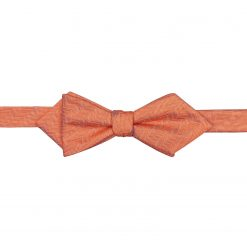 Coral Herringbone Silk Self Tie Pointed Bow Tie