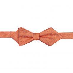 Coral Herringbone Silk Self Tie Pointed Bow Tie