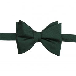 Dark Green Herringbone Silk Self Tie Butterfly Bow Tie