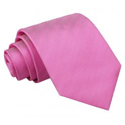Fuchsia Pink Herringbone Silk Classic Tie