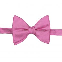 Fuchsia Pink Herringbone Silk Self Tie Butterfly Bow Tie