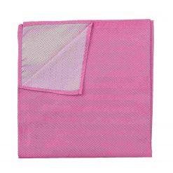 Fuchsia Pink Herringbone Silk Pocket Square