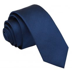 Midnight Blue Herringbone Silk Skinny Tie